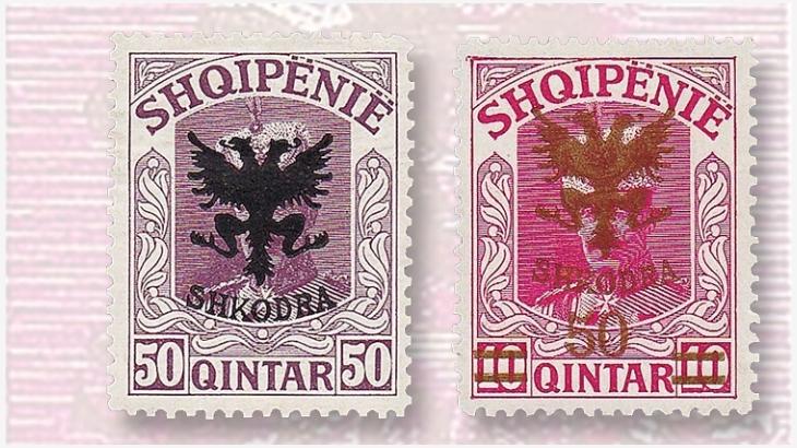 """Francobolli sovrastampati """"Shkodra"""" (Scutari) con il simbolo nazionale albanese dell'aquila bicefale che obliterano il viso di Guglielmo di Wied"""