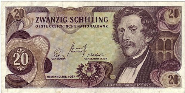 commemorative 20 banknote shillings depicting on one side the portrait of Ghega and on the other a bridge of the Semmering railway