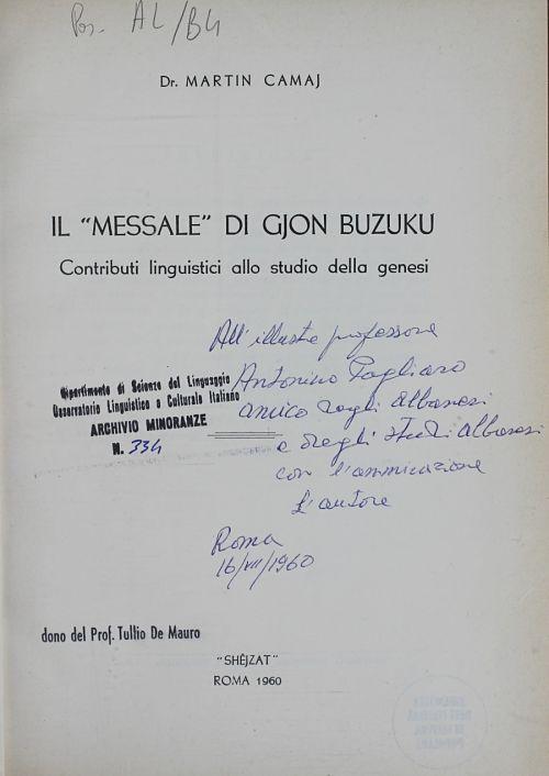Messale Di Gjon Buzuku, da Martin Camaj