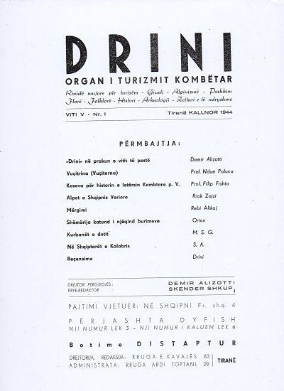 Sommario della rivista Drini- Bollettino mensile del Turismo Albanese