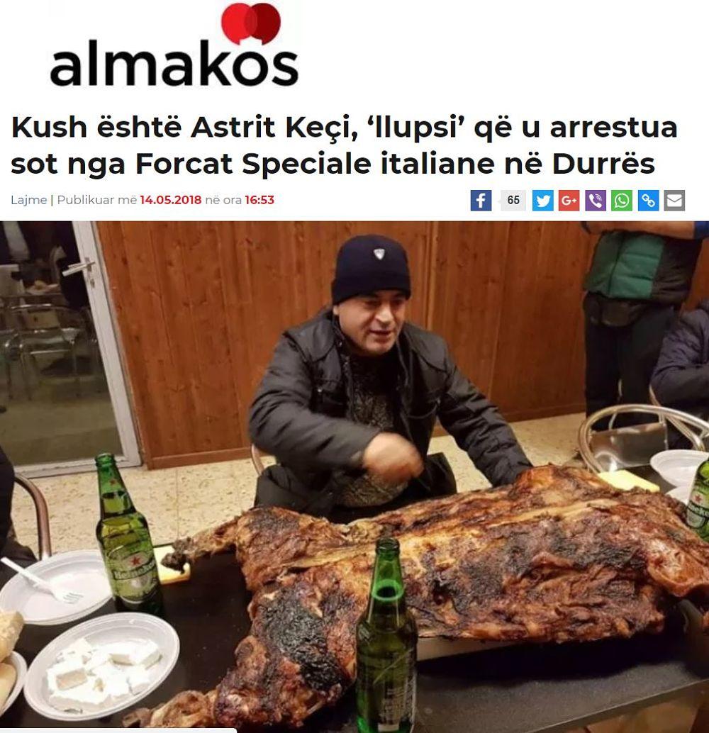 Quotidiano albanese Almakos su Astrit Keci