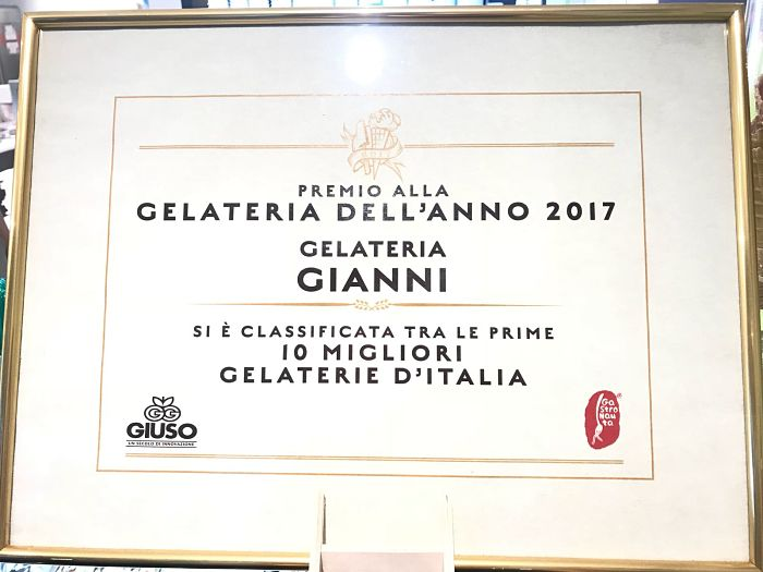 Gelateria Gianni, premio alla gelateria dell'anno 2017, di Erion Kaso