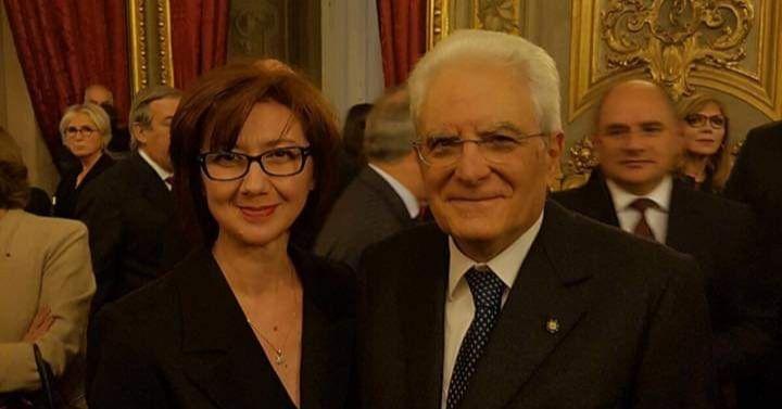 Anila Bitri Lani, the Albanian ambassador in Rome and Sergio Mattarella, President of Italy