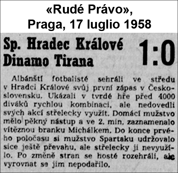 July 1958: Dinamo Tirana in the Czechoslovakia football pool1