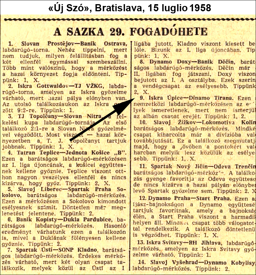 July 1958: Dinamo Tirana in the Czechoslovakia football pool3