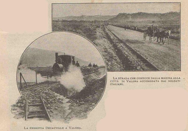 Hekurudha Decauville në Vlorë dhe rruga që lidh Portin me qytetin e vVorës e rregulluar nga ushtarët italianë