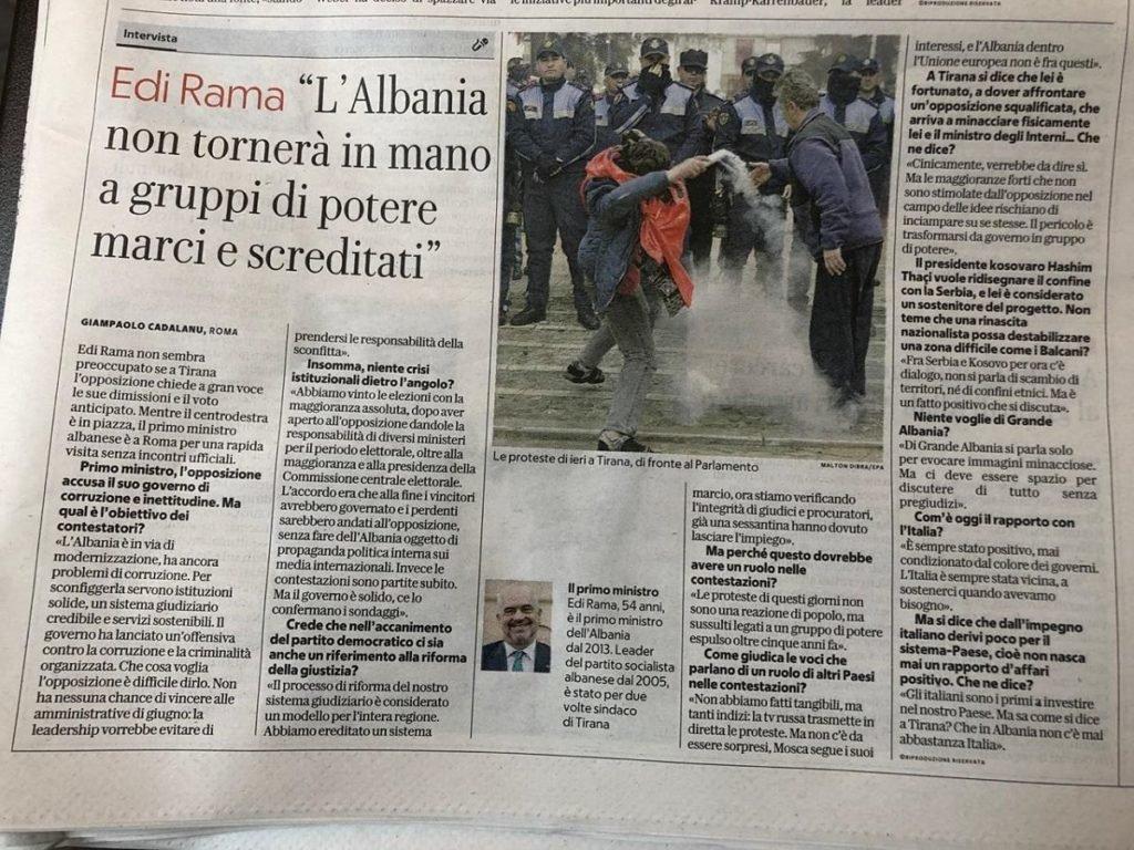 Edi Rama interviste per La Repubblica